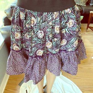Peacock print skirt size small